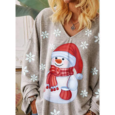 Print V-Neck Long Sleeves Casual Christmas T-shirts