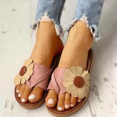 Women's PU Flat Heel Sandals Flats Flip-Flops Slippers Toe Ring With Flower shoes