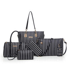 Stripe PU Satchel/Tote Bags/Shoulder Bags/Bag Sets/Wallets & Wristlets