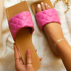 Mulheres PU Sem salto Sandálias Chinelos sapatos