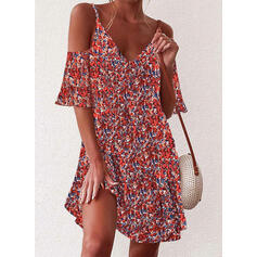 Print/Floral 1/2 Sleeves/Cold Shoulder Sleeve Shift Above Knee Casual/Vacation Dresses