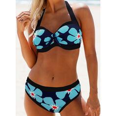 Bloemen Print Halter Sexy Bikini's Badpakken