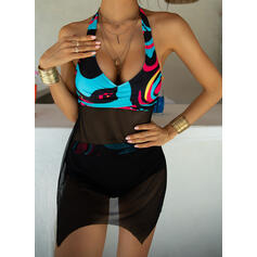 Print Halter V-Neck Plus Size Colorful Boho Swimdresses Swimsuits