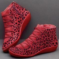 Dla kobiet Skóra z mikrofibry Niski Obcas Kozaki Z Sznurowanie obuwie
