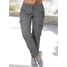 Pockets Shirred Plus Size Long Casual Sporty Plain Pants