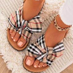 Női Szövet Lapos sarok Szandál Lakások Peep Toe Papucs Kerek lábujj -Val Csokornyakkendő Splice szín Csíkos cipő