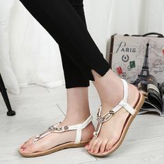 Femmes PU Talon plat Sandales Chaussures plates À bout ouvert Escarpins avec Strass Élastique chaussures