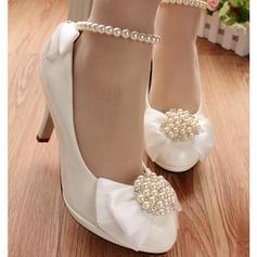 Frauen Kunstleder Stöckel Absatz Geschlossene Zehe Absatzschuhe mit Nachahmungen von Perlen Blume