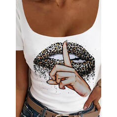 Leopard Print Square Collar Short Sleeves T-shirts