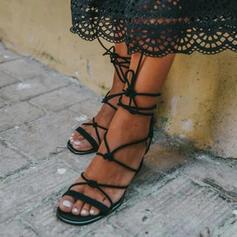 Femmes Cuir en microfibre Talon bottier Sandales avec Dentelle chaussures
