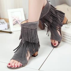 Women's Leatherette Chunky Heel Sandals Pumps Peep Toe With Tassel shoes