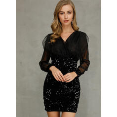 Sequins Long Sleeves Bodycon Above Knee Casual Dresses