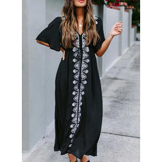 Print Natural Waist V-Neck Sexy Bohemian Cover-ups Swimsuits