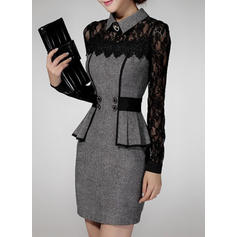 Lace Long Sleeves Bodycon Above Knee Casual/Elegant Dresses