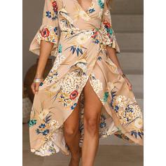 Nadrukowana/Kwiatowy Rozkloszowane rękawy W kształcie litery A Asymetryczna Casual/Boho/Wakacyjna Sukienki