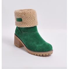 Femmes Suède Talon bottier Escarpins Bout fermé Bottes Bottines Bottes neige avec Fausse Fourrure chaussures
