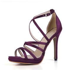 Women's Plastics Stiletto Heel Sandals Pumps Peep Toe With Buckle shoes