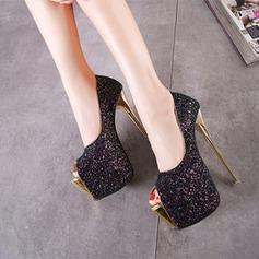 Frauen Funkelnde Glitzer Stöckel Absatz Plateauschuh Peep Toe Schuhe