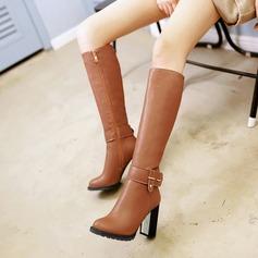 Femmes Similicuir Talon bottier Bottes Bottes hautes avec Rivet Boucle Zip chaussures