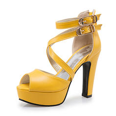 Women's Leatherette Chunky Heel Sandals Pumps Platform Peep Toe With Lace-up shoes