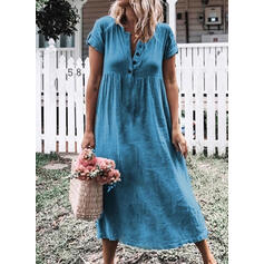 Solid Short Sleeves Shift Casual/Vacation Midi Dresses