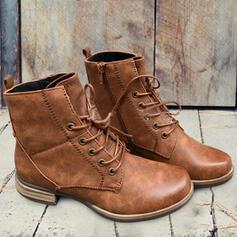 Femmes PU Talon bottier Bottes Martin bottes avec Zip Dentelle Couleur unie chaussures