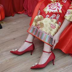 Femmes Satiné Talon stiletto Bout fermé Escarpins avec Pearl