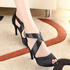 Women's Latin Heels Satin With Lace-up Character Shoes