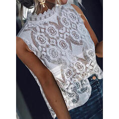 Solid Lace Stand collar Sleeveless Casual Elegant Tank Tops