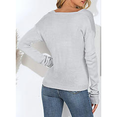 Solid Ribbed V-neck Sweaters
