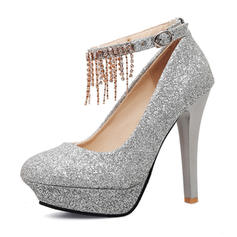 Women's Sparkling Glitter Stiletto Heel Pumps Platform Closed Toe With Buckle Chain Tassel shoes