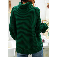 Solid Ribbed Turtleneck Casual Sweaters