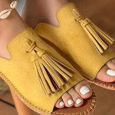 Femmes PU Talon plat Chaussons avec Tassel chaussures