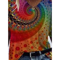 Trykk V-hals Kortermer T-skjorter