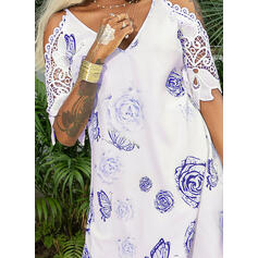Lace/Floral/Animal Print 3/4 Sleeves Shift Above Knee Casual/Elegant Dresses