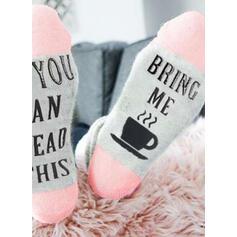 Bogstav/Syning/Print åndbar/Crew sokker/Unisex Sokker