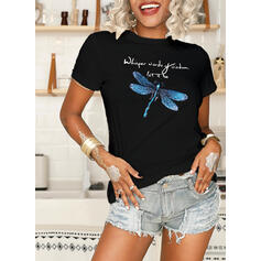 Animal Print Figure Round Neck Short Sleeves Casual T-shirts