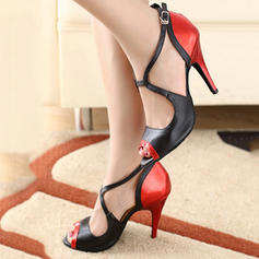 Women's Latin Heels Pumps Leatherette With Ankle Strap Latin