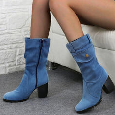 Women's PU Chunky Heel Pumps Boots Mid-Calf Boots With Zipper shoes