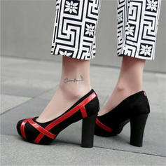 Women's Velvet Chunky Heel Pumps With Split Joint shoes