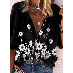 Print Floral V-Neck 3/4 Sleeves Button Up Casual Blouses