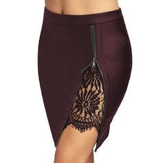 Leather/PU Plain Above Knee High-Slit Skirts