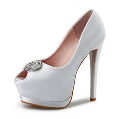 Women's Silk Like Satin Stiletto Heel Pumps Platform Peep Toe With Rhinestone shoes