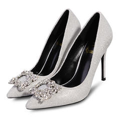 Women's Sparkling Glitter Microfiber Leather Stiletto Heel Closed Toe Pumps With Crystal