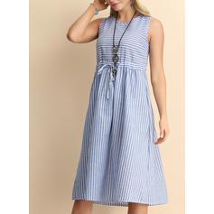 Striped Sleeveless A-line Knee Length Casual Dresses