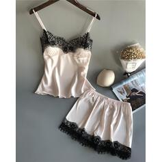 Low Cut Sleeveless Solid Color Elegant Classic Pajamas Sets