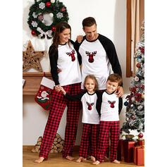 Color Block Plaid Family Matching Christmas Pajamas