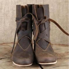 Frauen Kunstleder Stöckel Absatz Flache Schuhe Stiefel Stiefel-Wadenlang mit Zuschnüren Schuhe