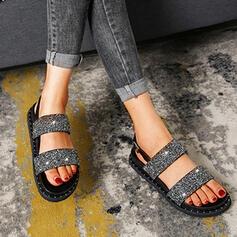 Femmes Pailletes scintillantes Talon plat Sandales Chaussures plates À bout ouvert avec Paillette chaussures
