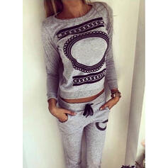 Round Neck Long Sleeves Print Attractive Top & Pants Sets